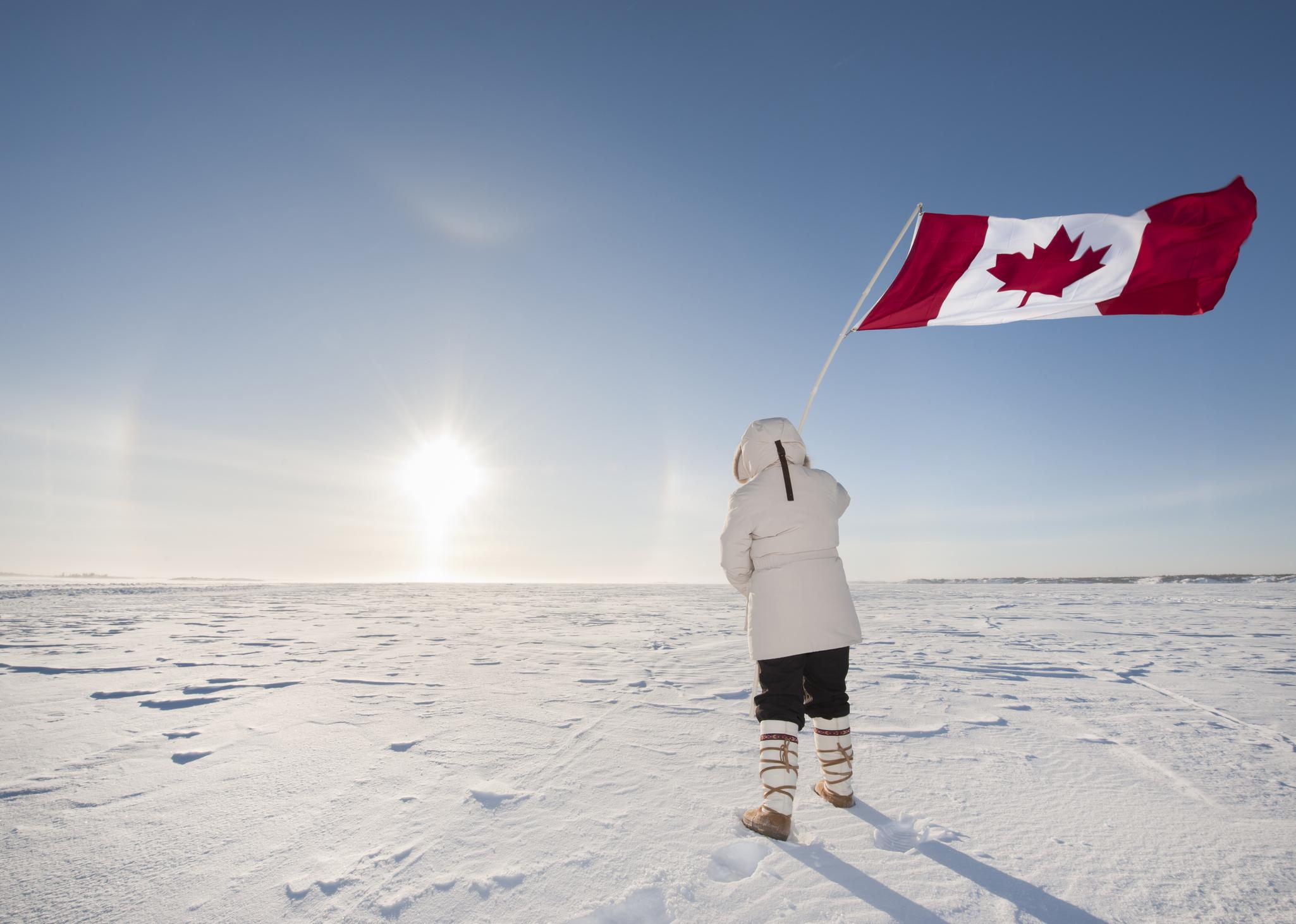 Arctic Sundog or Parhelion, Woman and Canadian Flag.